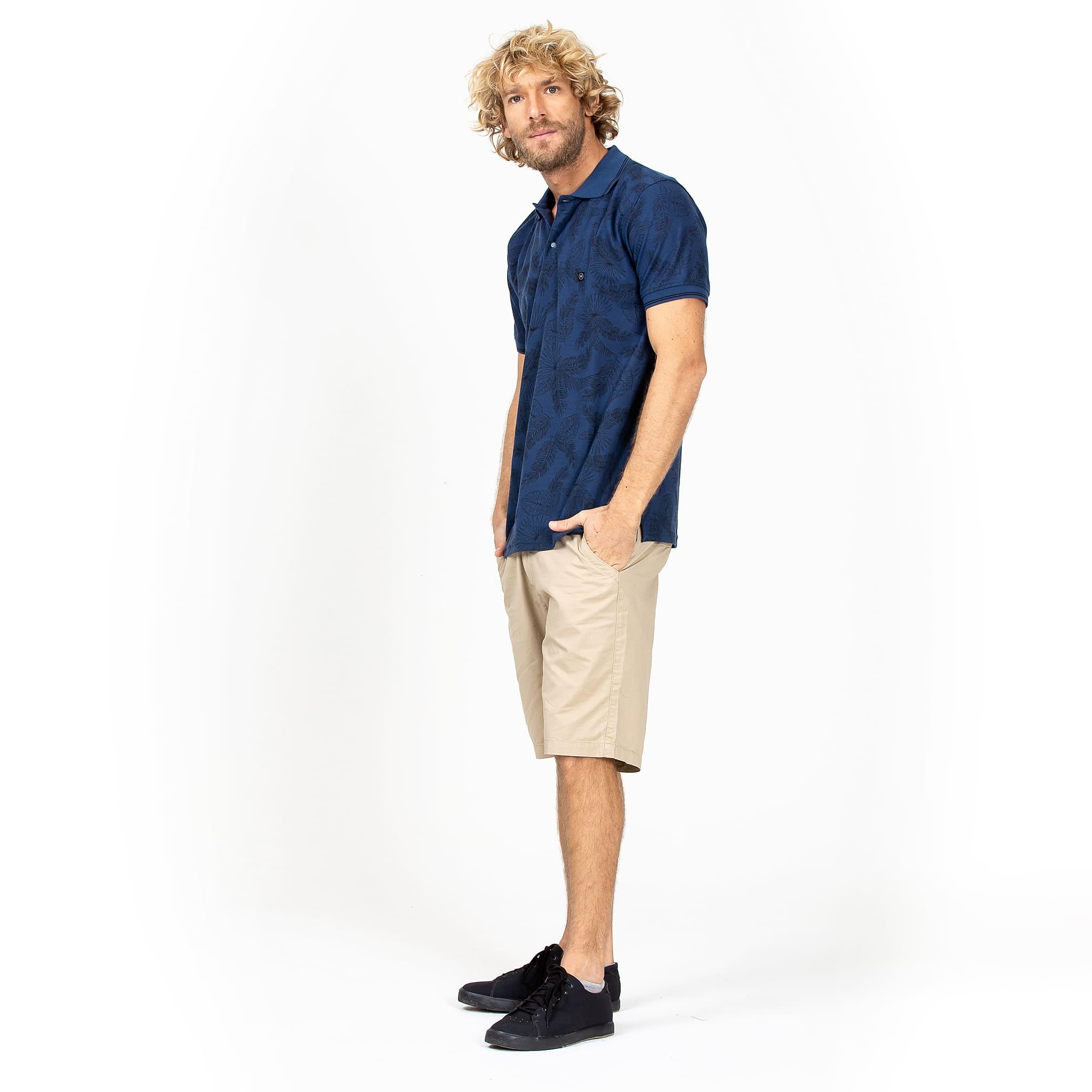 Camisa Polo Folhagens Azul Escuro