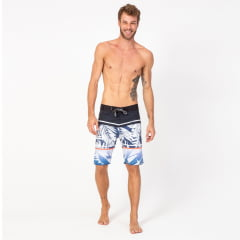 Bermuda Boardshort Elastano Stripes Palm White