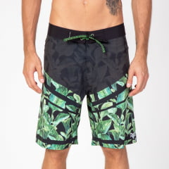 Bermuda Boardshort Elastano Green Leaves
