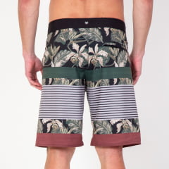 Bermuda Boardshort Elastano Leaves and Stripes