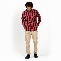 Camisa Tricoline Xadrez Vermelho Surfly