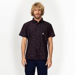 Camisa Manga Curta Vinho Surfly