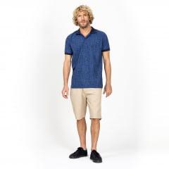Camisa Polo Azul de Folhas