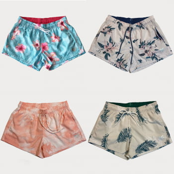 Kit 4 Shorts Femininos Estampado de Elastano