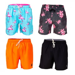 Kit short estampado curto masculino